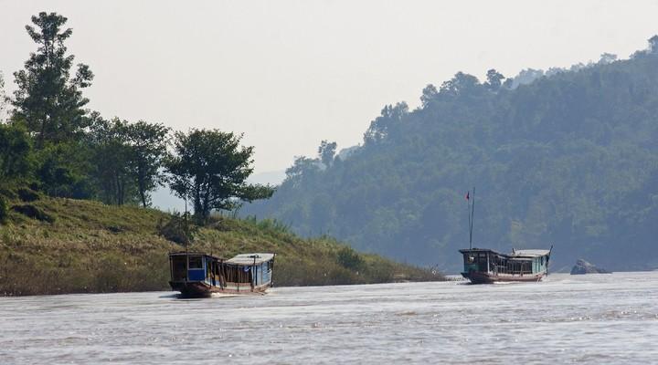 Bootjes op de Mekong rivier