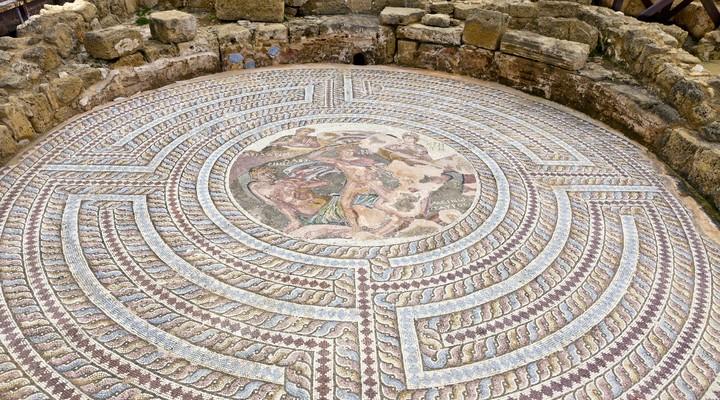 Een van de mozaïeken in Paphos