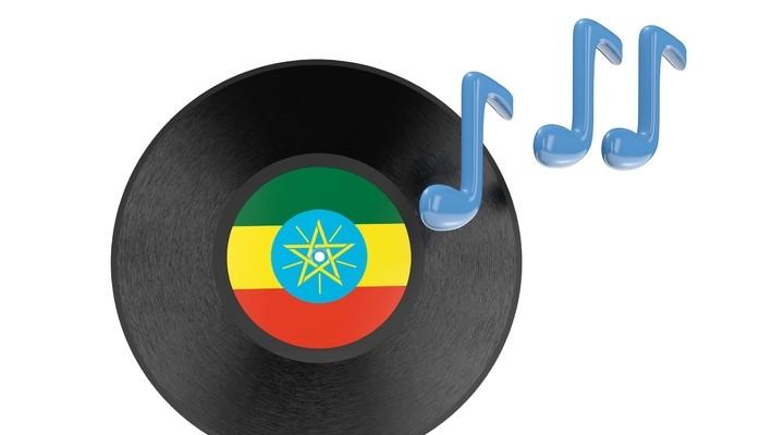 Plaatje (Vinyl) met Ethiopsche vlag en muzieknoten