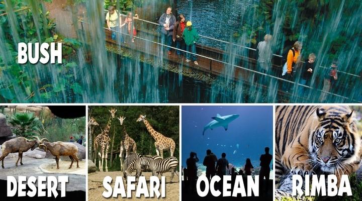 Verschillende locaties van Burgers' Zoo