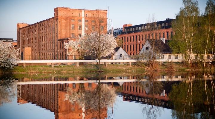 Oude textielfabriek in Lodz, Polen