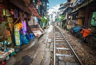Straat in Hanoi,  de hoofdstad van Vietnam