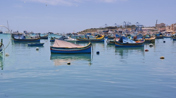 Traditionele vissersbootjes in Marsaxlokk