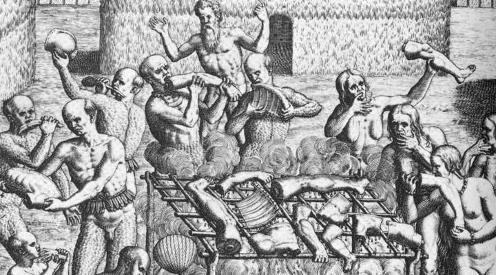 Oude tekening van kannibalisme