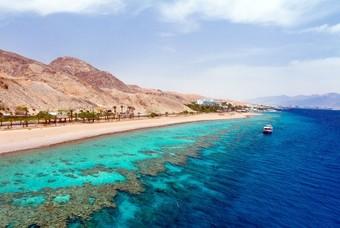 Rode Zee, strand, blauw water, Eilat