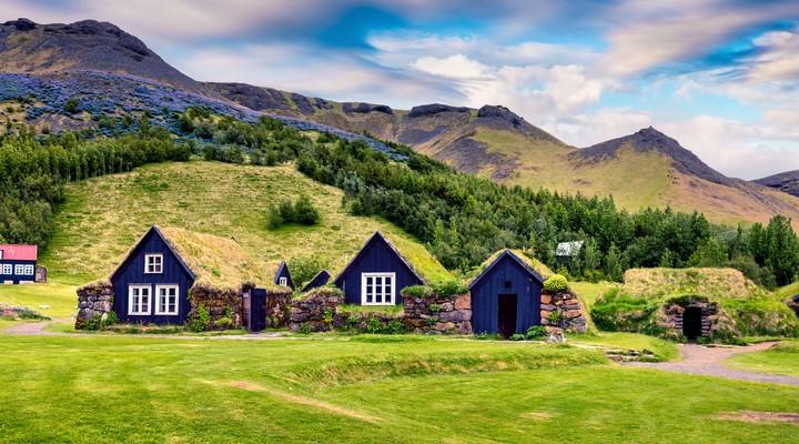 Turf huisjes in het zuiden van IJsland (Skogar)