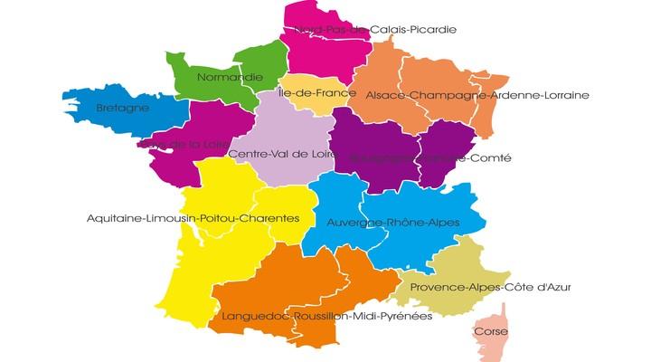 Kaart regio's Frankrijk
