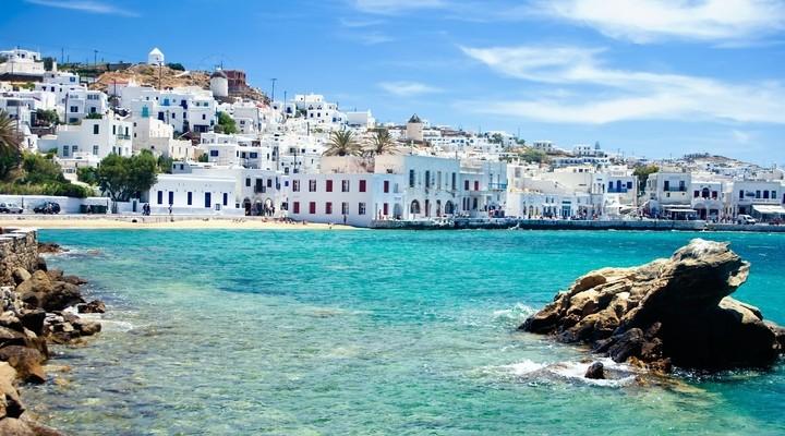 Kustlijn Mykonos, Grieks eiland