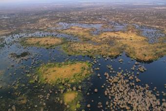 Luchtfoto van de Okavangodelta