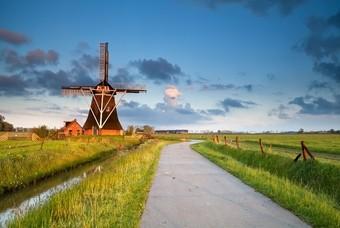 Typische Nederlands landschap met molen en weide