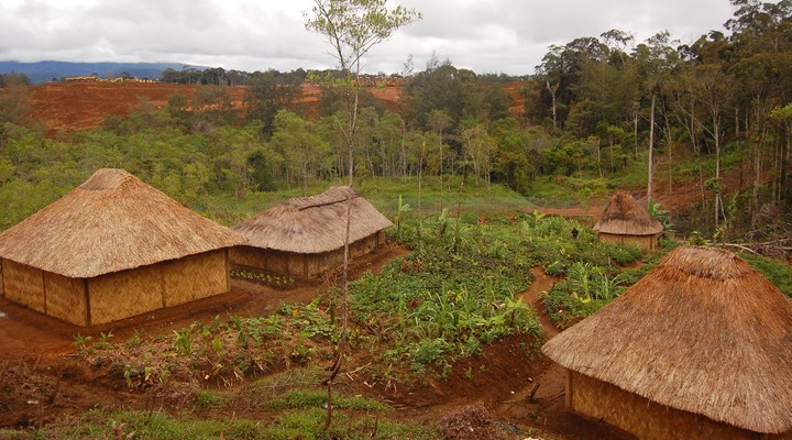 Traditioneel dorp in de hooglanden