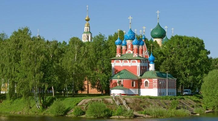 Uglich Kremlin met blauwe torens, Rusland