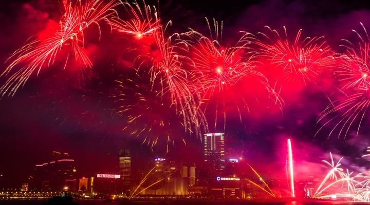 Chinees vuurwerk in Hongkong