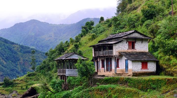 Uitzicht vanaf de gebergtes in Nepal