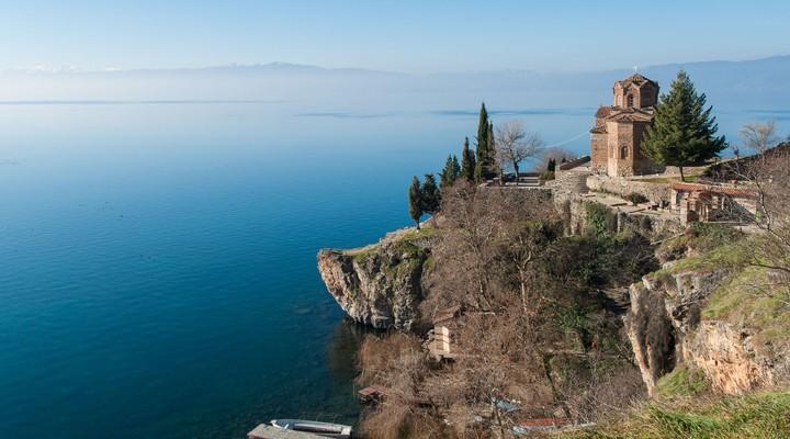 Uitzicht op het meer van Ohrid, Macedonie