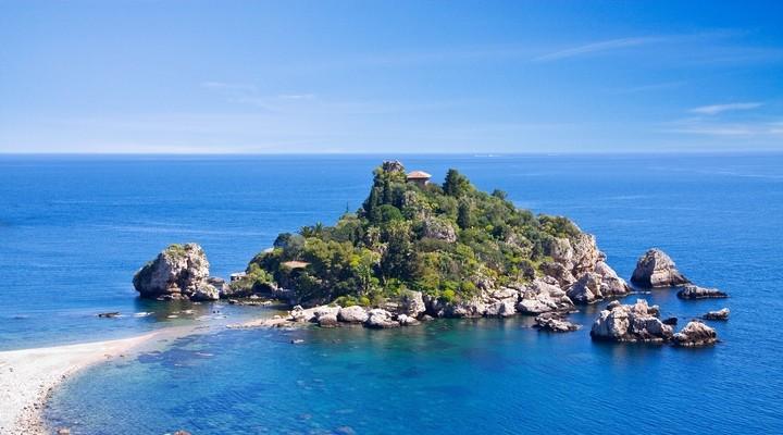 Taormina strand, Isola Bella, Sicilie