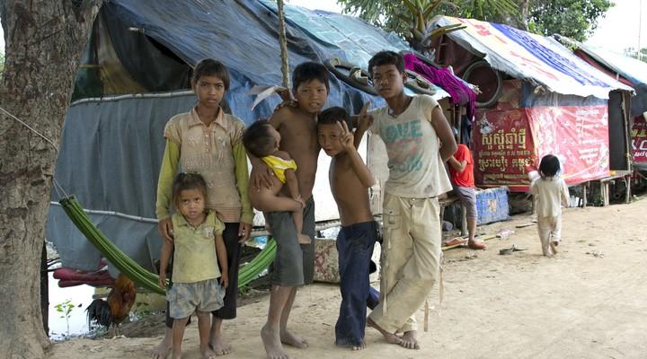 Sloppenwijk in Cambodja