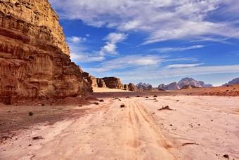 Het landschap van Wadi Rum