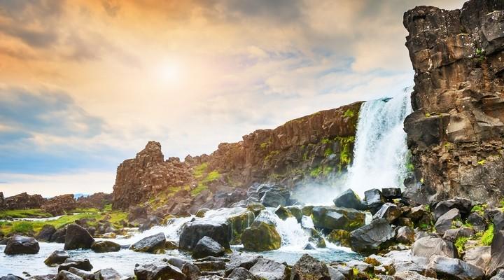 Oxararfoss waterval in Thingvellir National Park