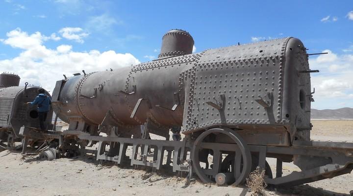 Een oude trein op el cementerio de los trenes