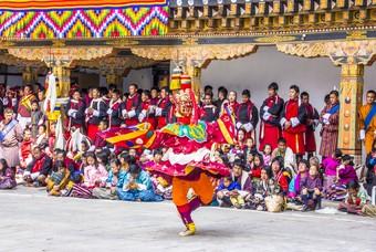 Gemaskerde dansers, Punakha, Bhutan