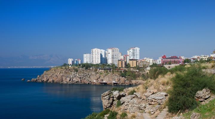 Kustlijn Antalya, badplaats Turkije