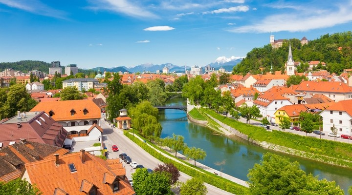 Uitzicht over Sloveense hoofdstad Ljubljana