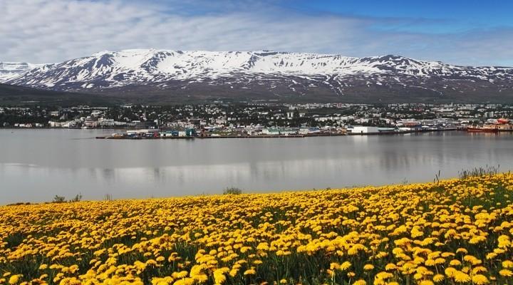 Skyline Akureyri aan het water, IJsland