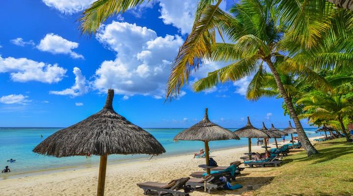 Een typisch strand op Mauritius