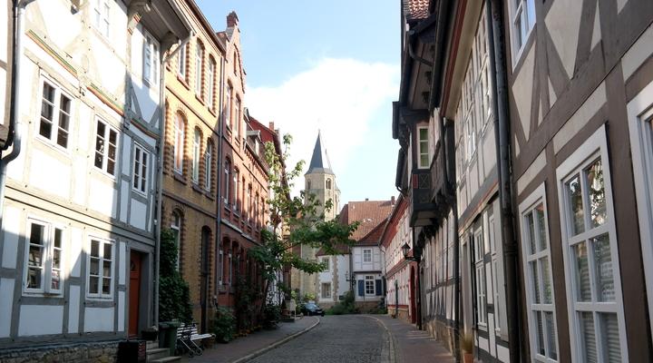 Een van de vele leuke straatjes in Hildesheim