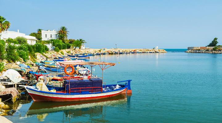 Gekleurde vissersbootjes in Punic port, Carthage