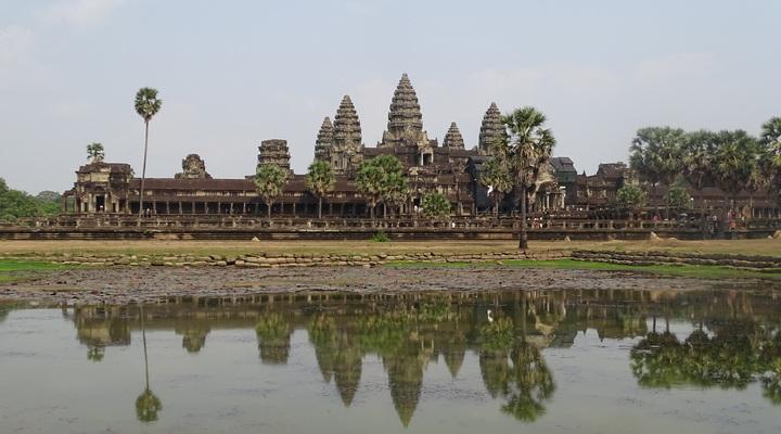 De tempels genaamd 'Ankor Wat' in Siem Reap