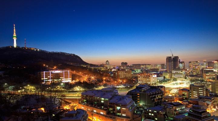 Seoel in avondlicht, Zuid-Korea